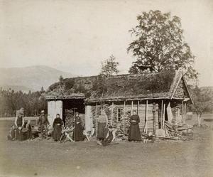 Folk i ulike aldrar framfor eit uthus på Vasshus der det er opplødd mykje ved. To kvinner står med river, ein mann i skinnklede ber noko i vasselen, ungane er med. Året er 1888.