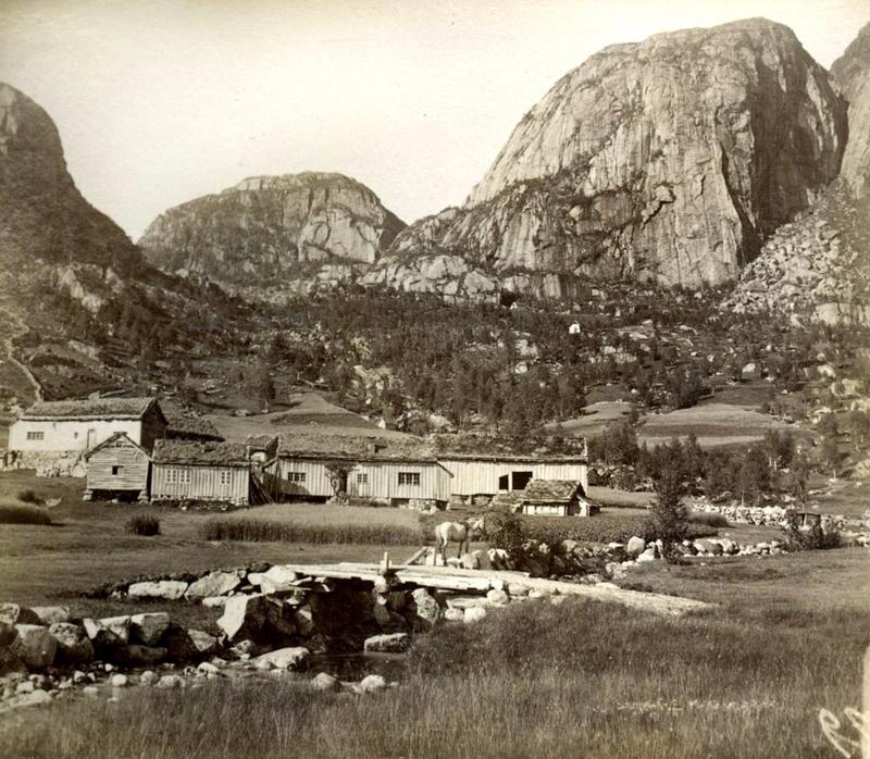 Frå fjellgarden Hjorteland mellom Jøsenfjorden og Suldal. Alice Archer var her og fotograferte den 28. juli 1888.