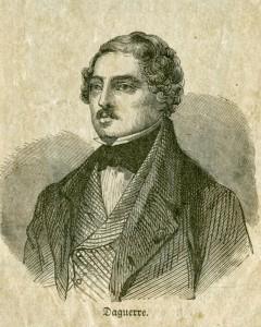 """Louis J. M. Daguerre (1787 – 1851). Illustrasjonen er henta frå boka """"Store Opfindelser"""", Kristiania 1880."""