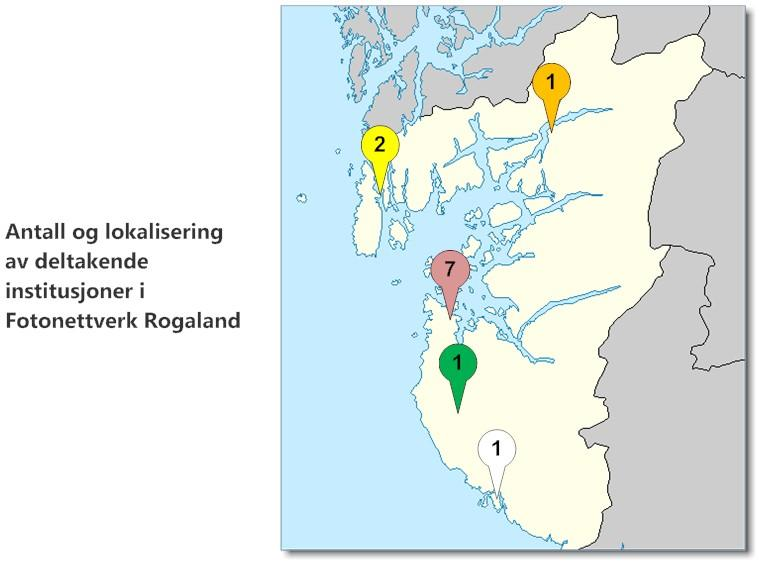 Antall og lokalisering av deltakende institusjoner i Fotonettverk Rogaland. Kartgrunnlag: Modified by Frokor (http://www.maps-for-free.com/), via Wikimedia Commons. Tilrettlegging: Fotonettverk Rogaland.