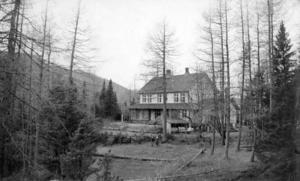 Det har gått mange år, og det har vakse til med skog på Rophaug. Det er truleg Ruth Archer, kona til Normann Archer, og dottera Esther som står framfor huset. Bildet er frå 1930-talet.