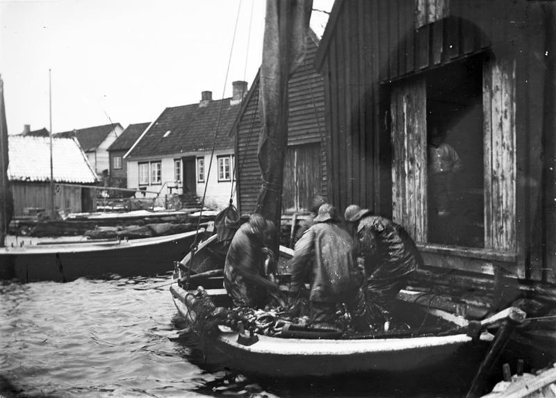 Båt med sildelast losses inn i Lars Ydstebøs sjøhus på Ydstebø, Kvitsøy. Foto: Stavanger Sjøfartsmuseum, ST.S 1983-057-0140.