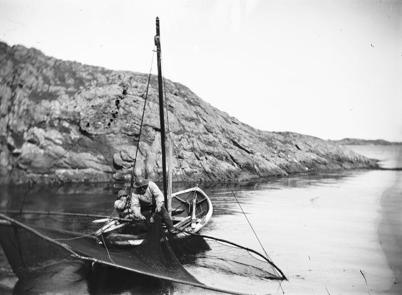 Glipfiske fra liten seildreven fiskebåt med to mann ombord. Mannen som drar garnet er trolig Lars Hansen Haaland, Lauritz Haalands far. Foto: Stavanger Sjøfartsmuseum, ST.S 1983-057-0177