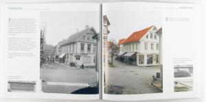 Et oppslag fra boka Egersund - 120 år gjennom kameraøyne, som viser sammenligning av gammelt og nytt foto.