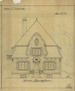 Arkitekttegning av enebolig for T.Nygaard Fasade mot Eiganesveien