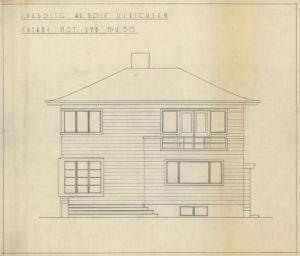 Arkitekttegning av enebolig til Rolf Ulrichsen Fasade mot sør