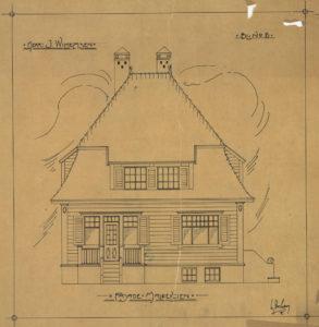 Arkitekttegning av enebolig til I. Wilhelmsen Fasade Maldeveien