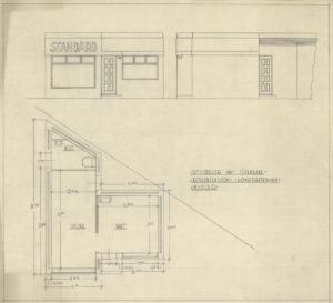 Arkitekttegning av bensinstasjon i Kongsgata 48 Utvidelse Fasade Plansnitt